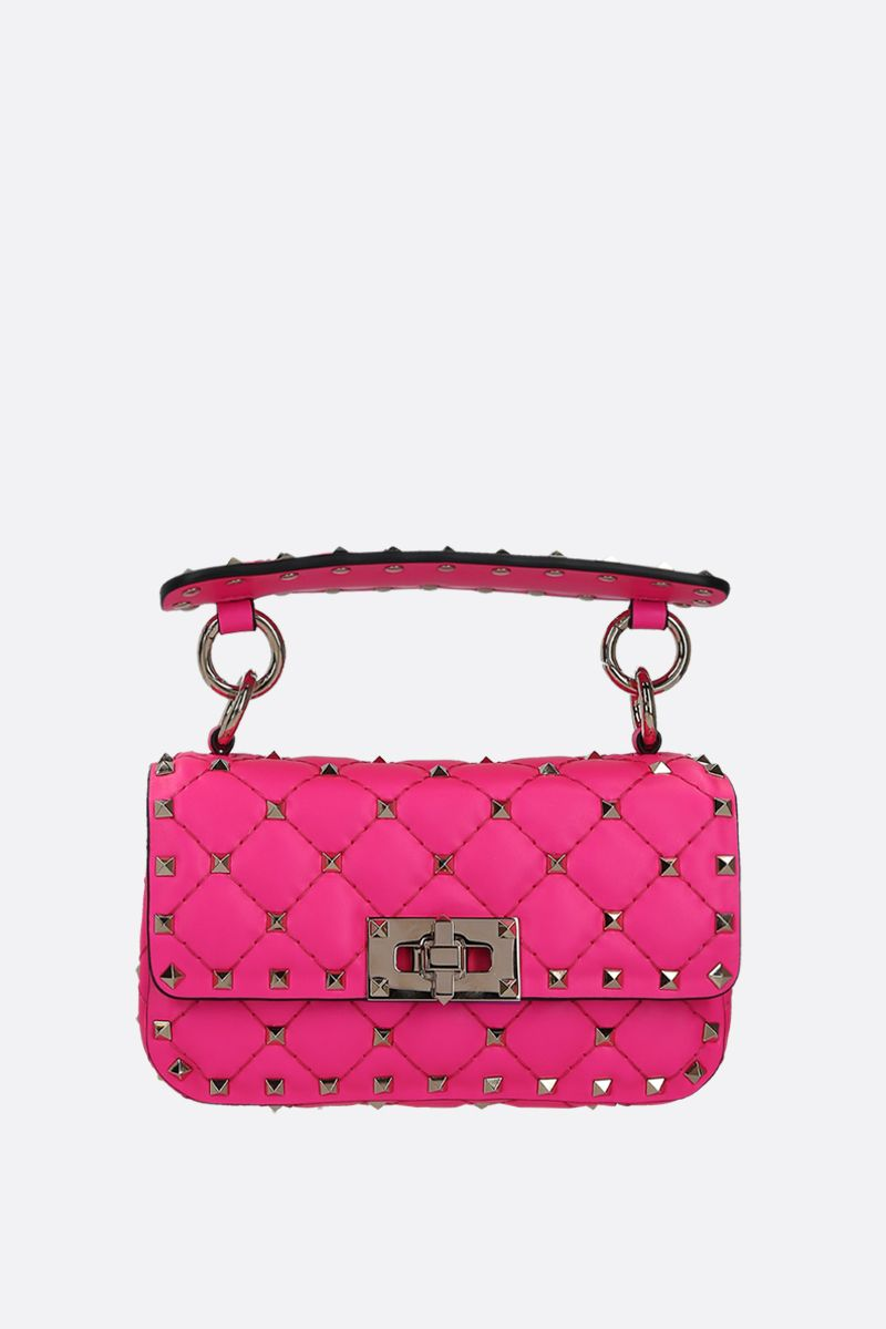 VALENTINO GARAVANI: Rockstud Spike mini quilted leather crossbody bag Color Pink_1