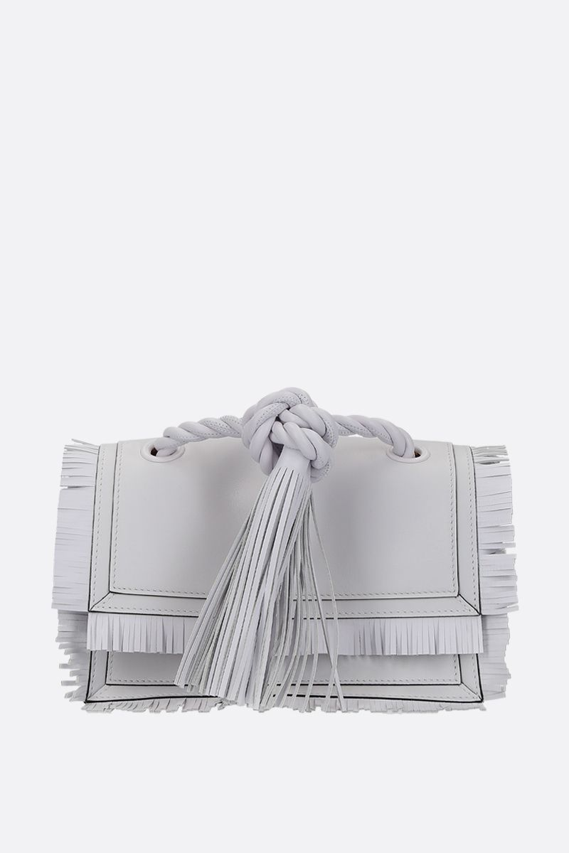 VALENTINO GARAVANI: The Rope small smooth leather shoulder bag Color White_1