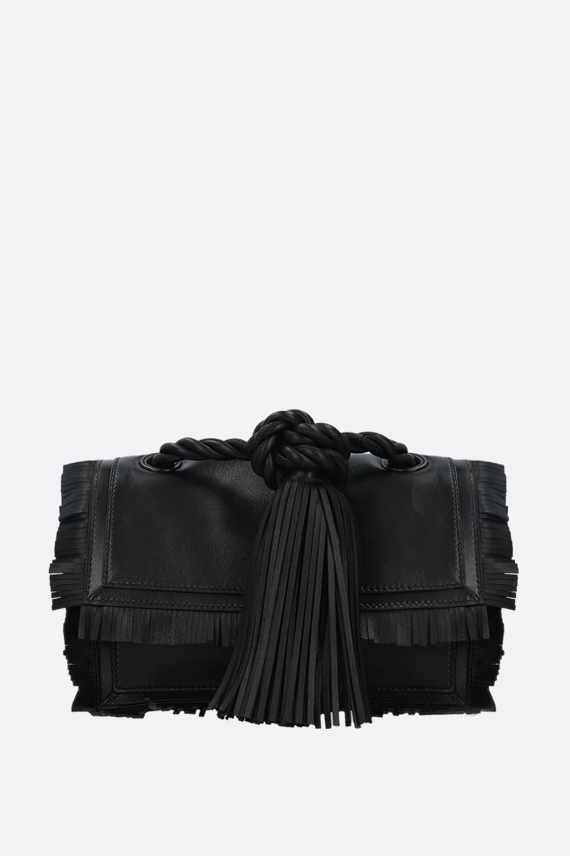 VALENTINO GARAVANI: The Rope small smooth leather shoulder bag Color Black_1