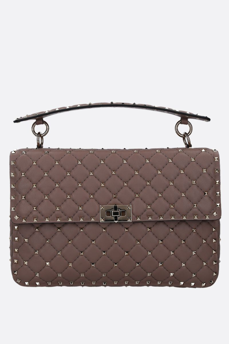 VALENTINO GARAVANI: Rockstud Spike large crossbody bag in quilted nappa Color Grey_1