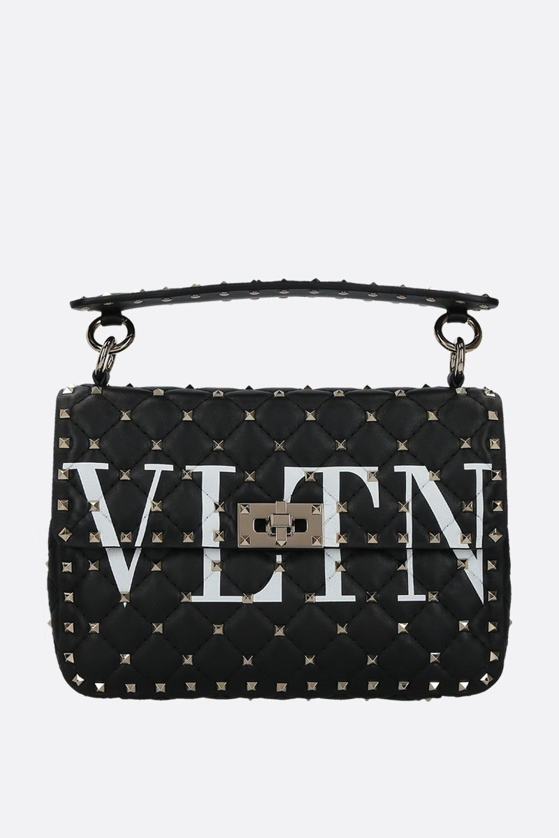 VALENTINO GARAVANI: Rockstud Spike medium chain bag in quilted nappa Color Black_1