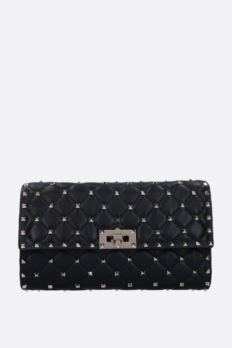 VALENTINO GARAVANI: Rockstud Spike chain clutch in quilted nappa Color Black_1