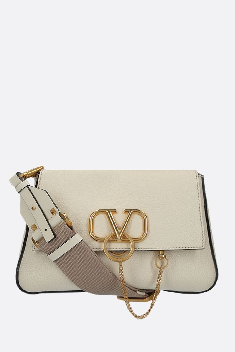 VALENTINO GARAVANI: VRING small shoulder bag in grainy leather Color Neutral_1