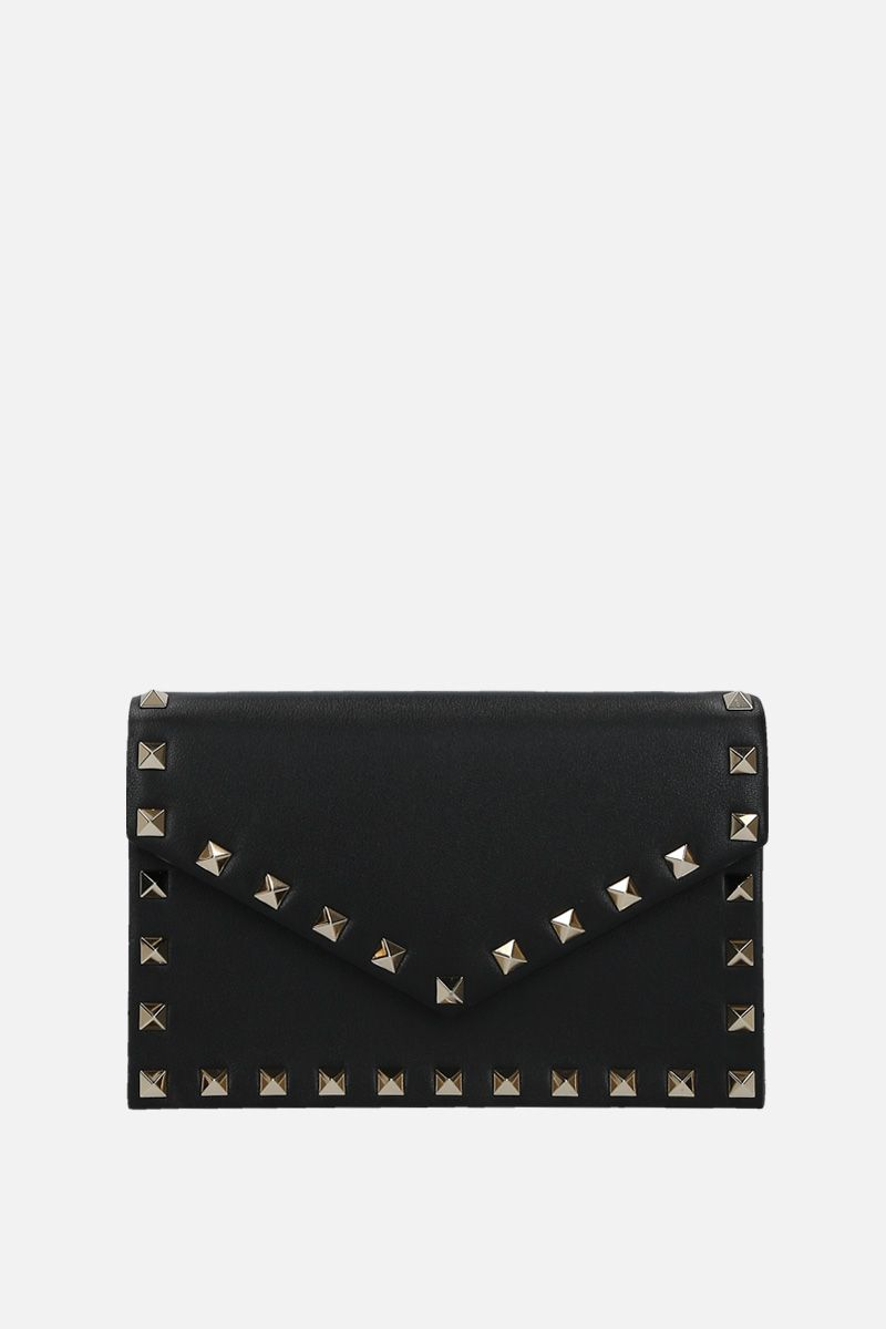 VALENTINO GARAVANI: Rockstud chain wallet in smooth leather Color Black_1