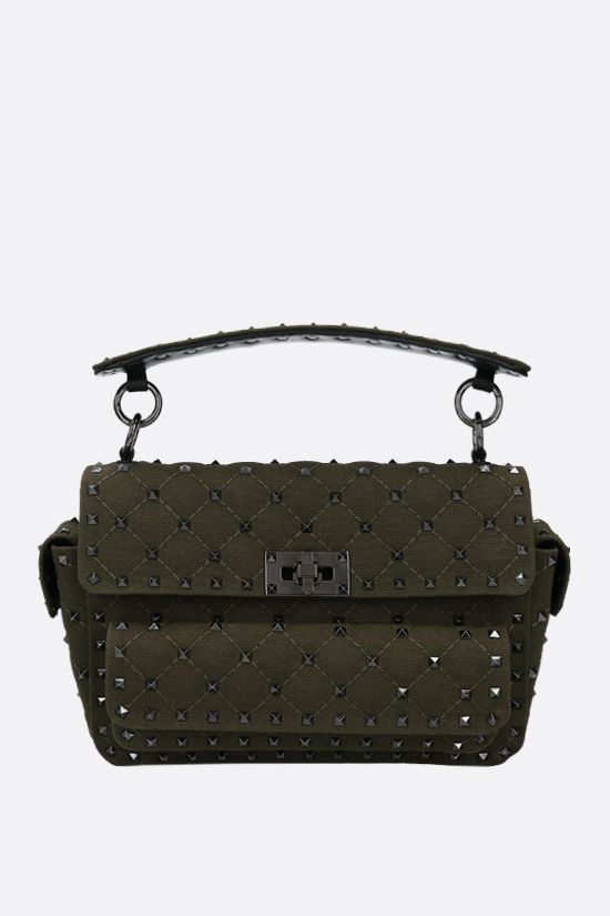 VALENTINO GARAVANI: Rockstud Spike medium quilted canvas crossbody bag Color Green_1