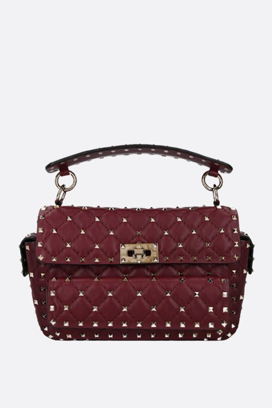 VALENTINO GARAVANI: Rockstud Spike medium quilted nappa crossbody bag Color Purple_1