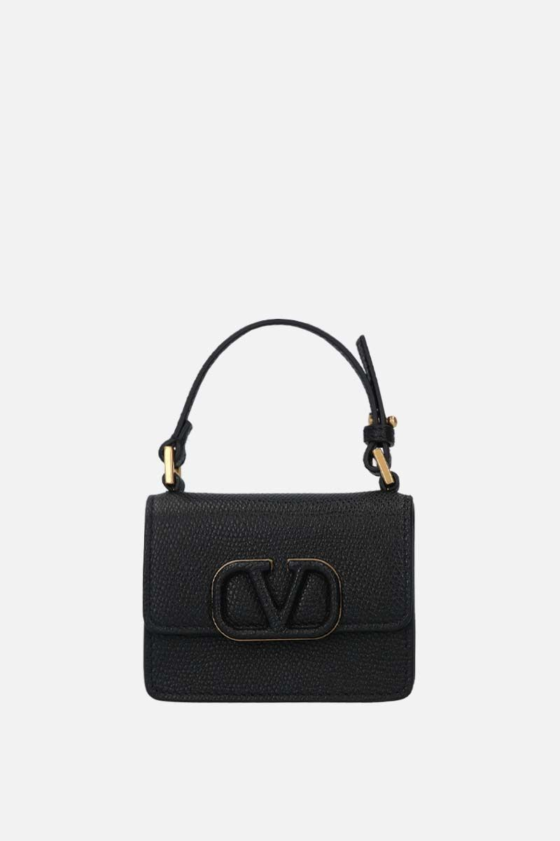 VALENTINO GARAVANI: VSLING grainy leather chain wallet Color Black_1