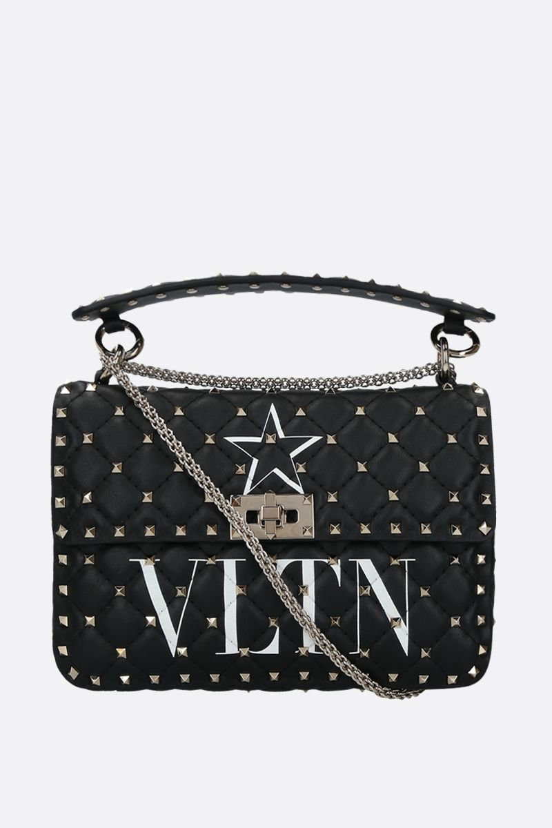VALENTINO GARAVANI: Rockstud Spike medium quilted nappa crossbody bag Color Black_1