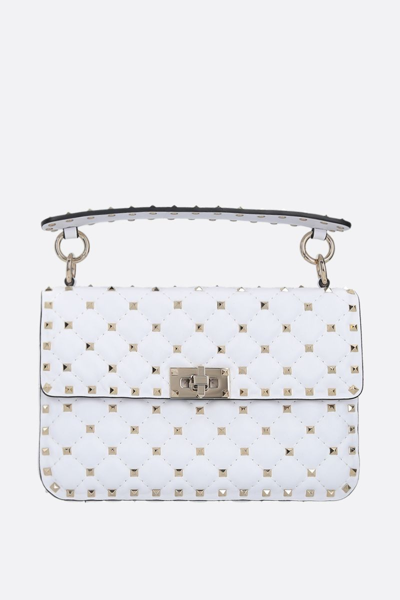 VALENTINO GARAVANI: Rockstud Spike medium quilted nappa crossbody bag Color White_1
