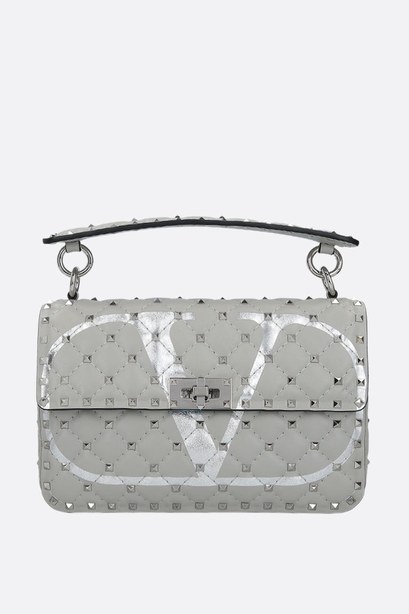 VALENTINO GARAVANI: Rockstud Spike medium quilted nappa crossbody bag_1