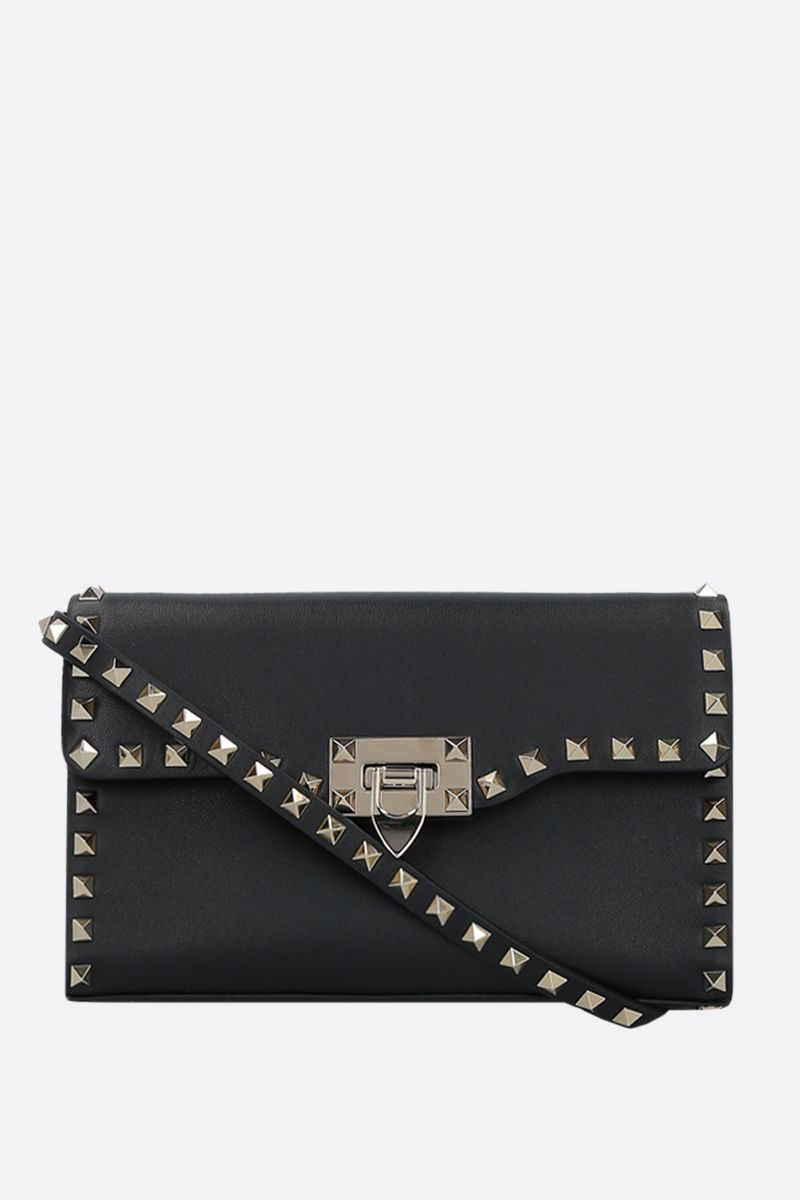 VALENTINO GARAVANI: Rockstud small smooth leather shoulder bag Color Black_1