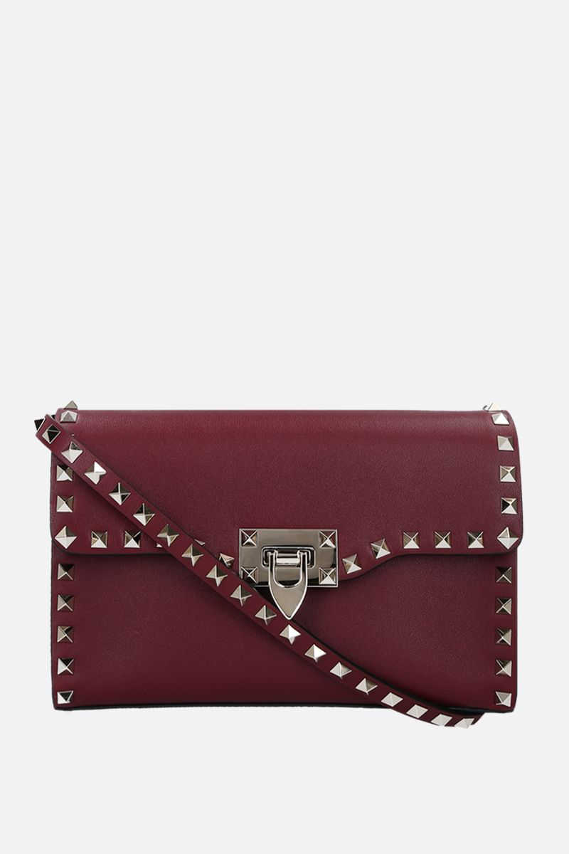 VALENTINO GARAVANI: Rockstud small smooth leather shoulder bag Color Red_1