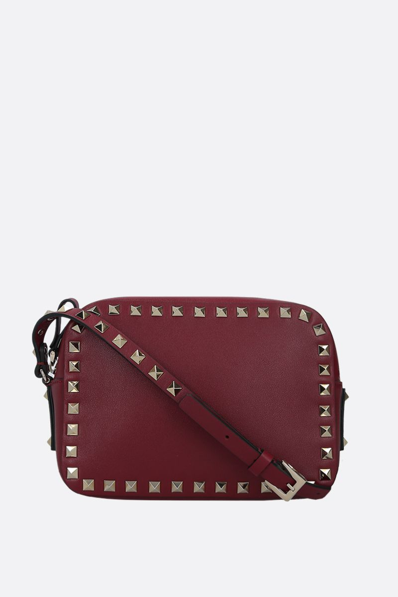 VALENTINO GARAVANI: Rockstud small smooth leather camera bag Color Red_1