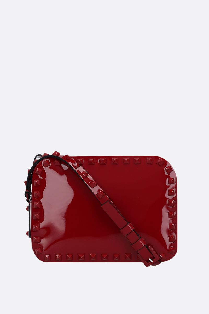 VALENTINO GARAVANI: Rockstud small patent leather crossbody bag Color Red_1