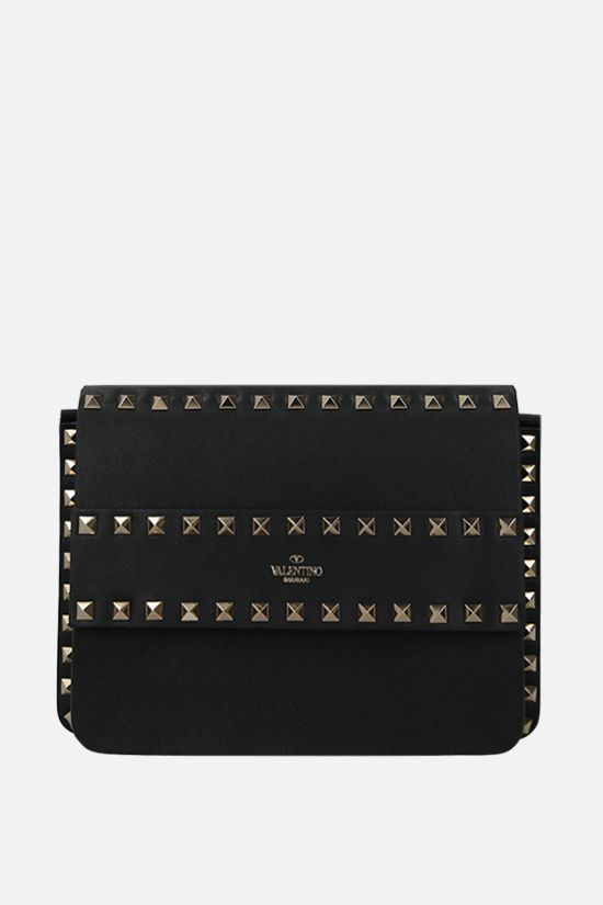 VALENTINO GARAVANI: Rockstud smooth leather shoulder bag Color Black_1
