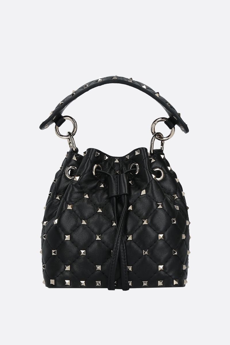VALENTINO GARAVANI: Rockstud quilted nappa bucket bag Color Black_1