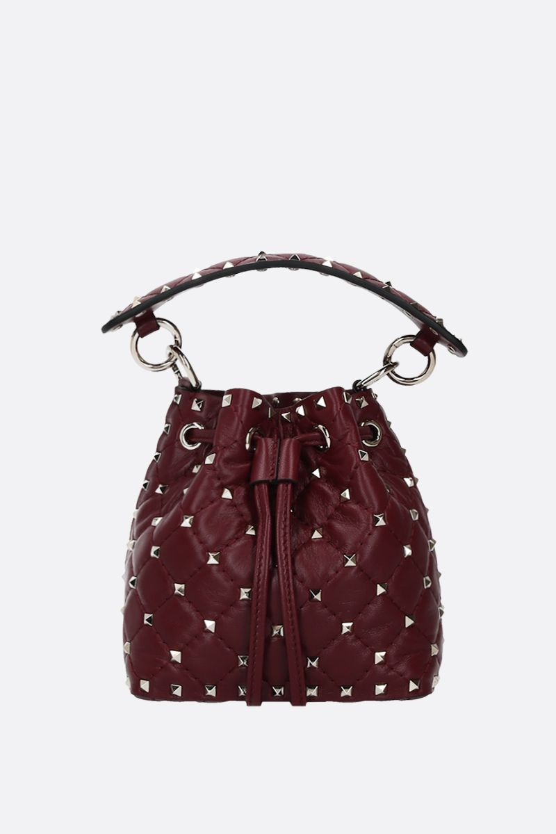 VALENTINO GARAVANI: Rockstud quilted nappa bucket bag Color Purple_1