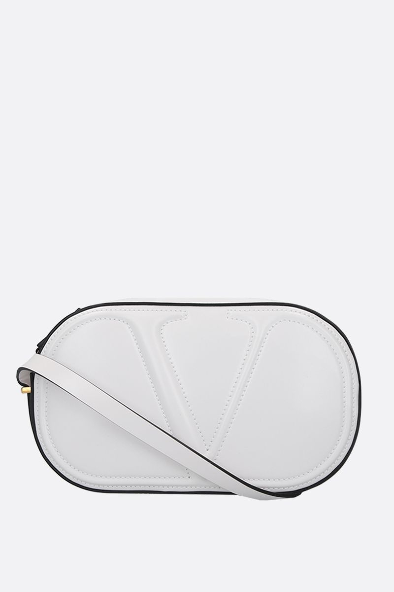 VALENTINO GARAVANI: VLOGO WALK shiny leather camera bag Color White_1