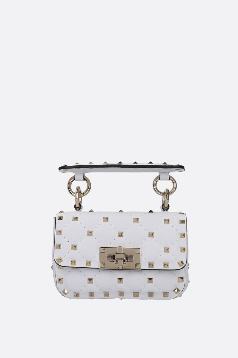 VALENTINO GARAVANI: Rockstud Spike micro quilted nappa crossbody bag Color White_1