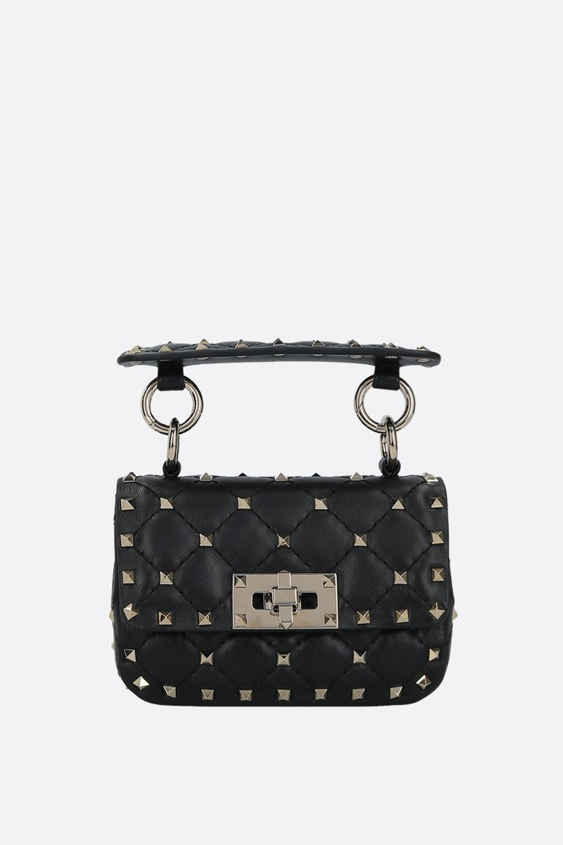 VALENTINO GARAVANI: Rockstud Spike micro quilted nappa crossbody bag Color Black_1