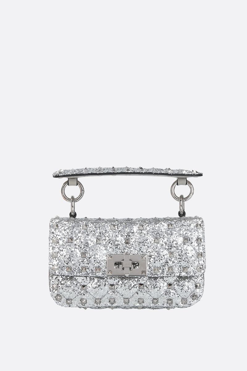 VALENTINO GARAVANI: Rockstud Spike micro glitter fabric crossbody bag Color Silver_1