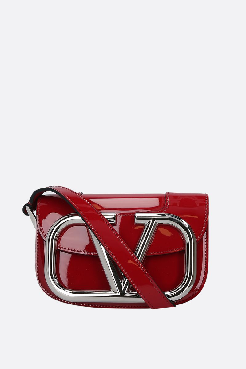 VALENTINO GARAVANI: Supervee small patent leather shoulder bag Color Red_1