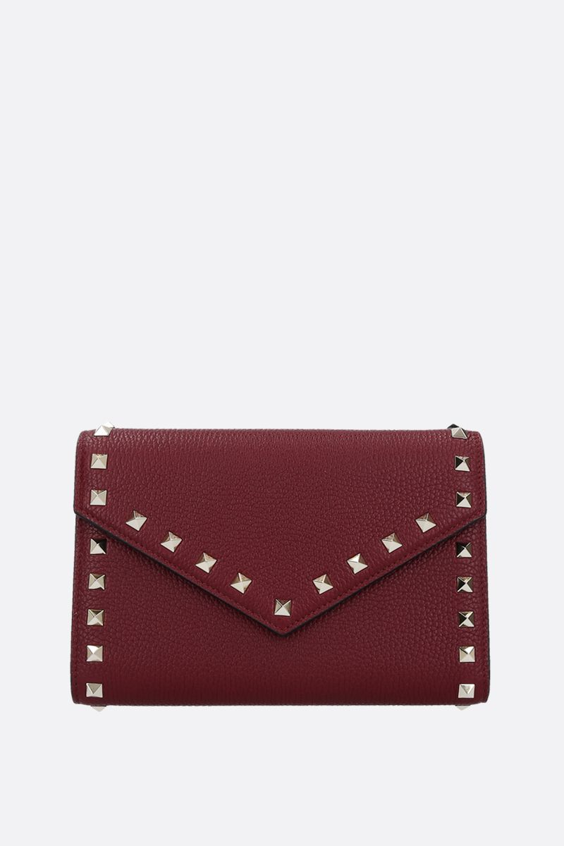 VALENTINO GARAVANI: Rockstud grainy leather chain wallet Color Red_1