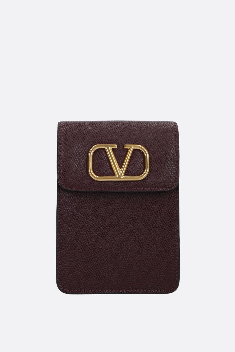VALENTINO GARAVANI: VLOGO grainy leather phone pouch Color Red_1