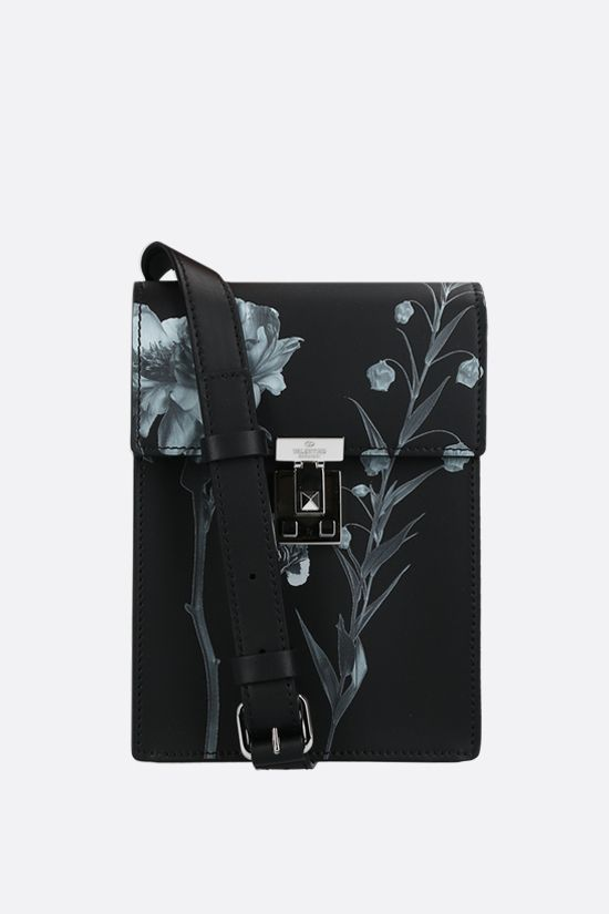 VALENTINO GARAVANI: Flowersity smooth leather crossbody bag Color Black_1
