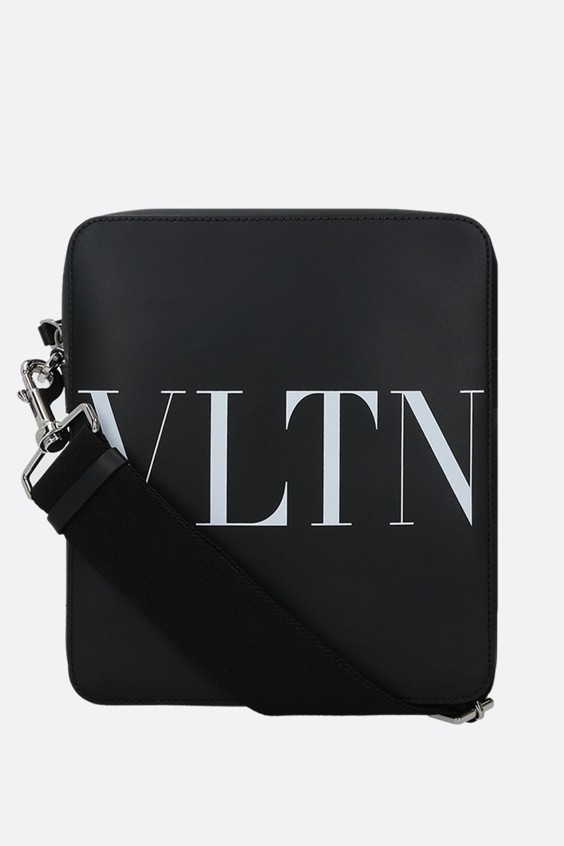 VALENTINO GARAVANI: VLTN smooth leather crossbody bag Color Black_1