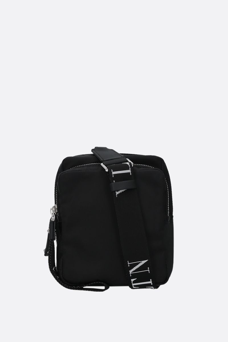 VALENTINO GARAVANI: VLTN nylon crossbody bag Color Black_1