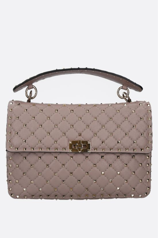 VALENTINO GARAVANI: Rockstud Spike large quilted nappa crossbody bag Color Neutral_1