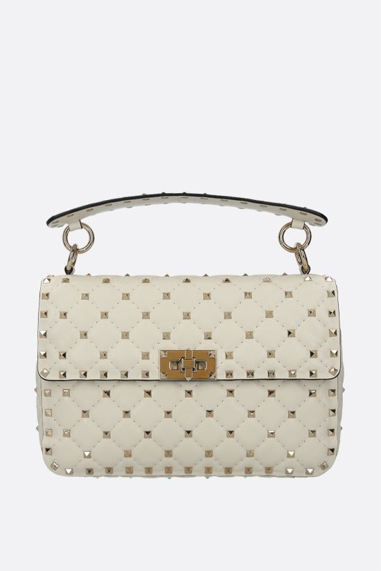 VALENTINO GARAVANI: Rockstud Spike medium quilted nappa crossbody bag Color Neutral_1