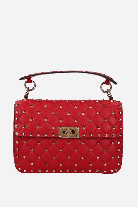 VALENTINO GARAVANI: Rockstud Spike medium quilted nappa crossbody bag Color Red_1