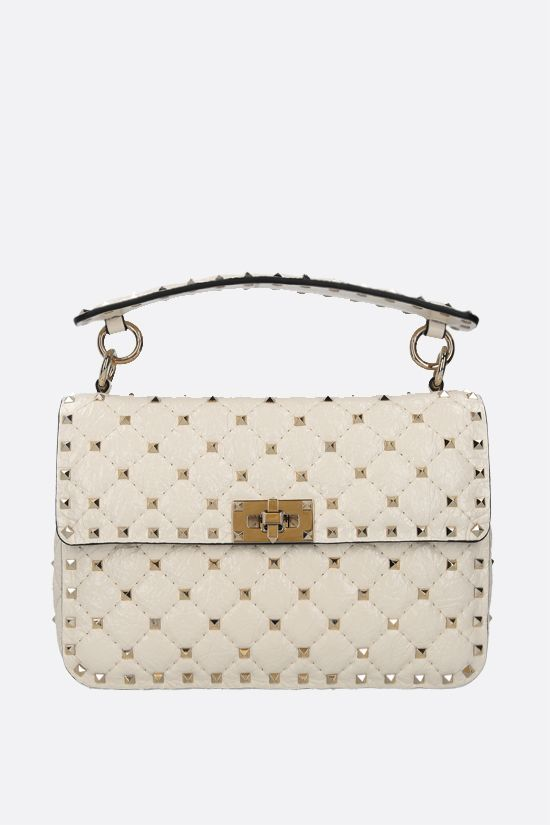 VALENTINO GARAVANI: Rockstud Spike medium craquelè leather crossbody bag Color Neutral_1