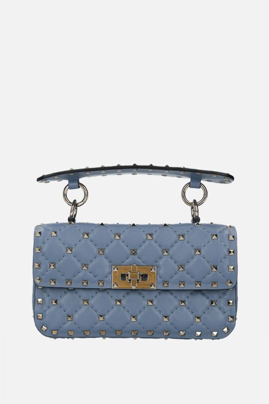 VALENTINO GARAVANI: Rockstud Spike small quilted nappa chain bag Color Blue_1