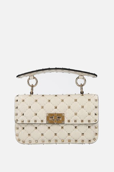 VALENTINO GARAVANI: Rockstud Spike small craquelè leather chain bag Color Neutral_1