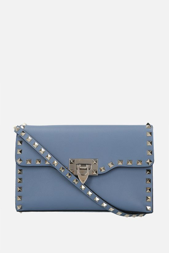 VALENTINO GARAVANI: Rockstud small smooth leather shoulder bag Color Blue_1