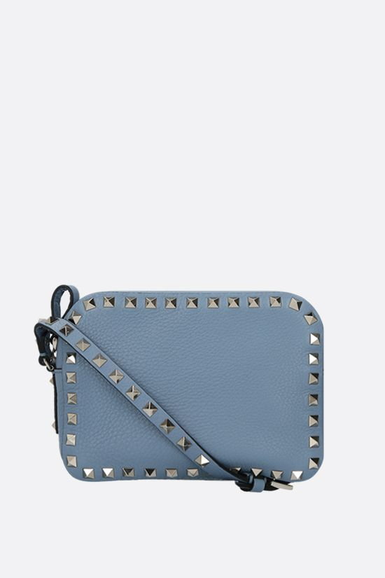 VALENTINO GARAVANI: Rockstud small grainy leather camera bag Color Blue_1