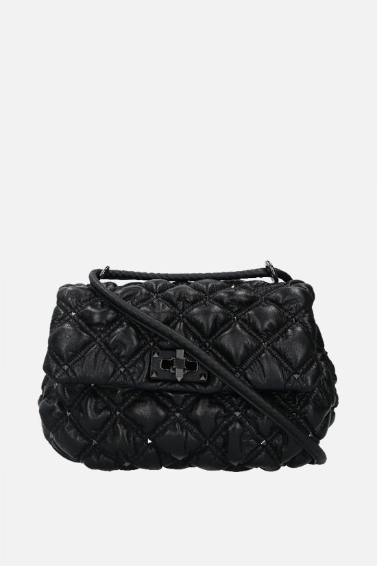 VALENTINO GARAVANI: SpikeMe medium quilted nappa shoulder bag Color Black_1