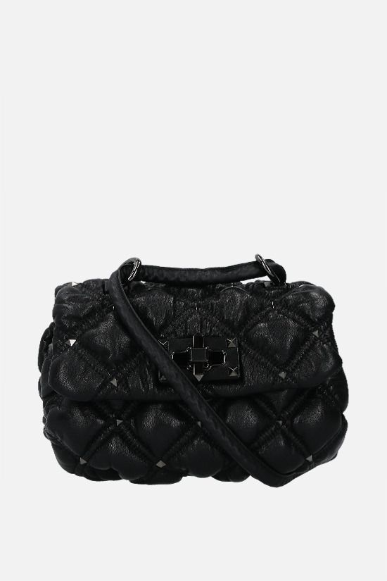 VALENTINO GARAVANI: SpikeMe small quilted nappa shoulder bag Color Black_1
