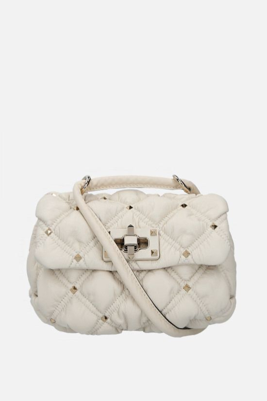 VALENTINO GARAVANI: SpikeMe small quilted nappa shoulder bag Color Neutral_1