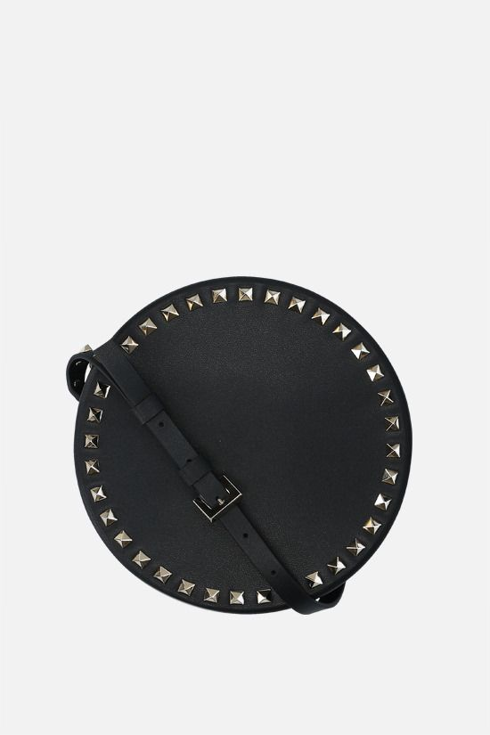 VALENTINO GARAVANI: Rockstud smooth leather round shoulder bag Color Black_1