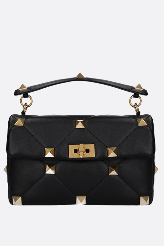 VALENTINO GARAVANI: Roman Stud quilted nappa crossbody bag Color Black_1