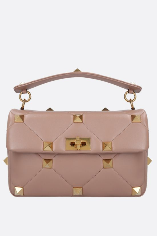 VALENTINO GARAVANI: Roman Stud quilted nappa crossbody bag Color Pink_1