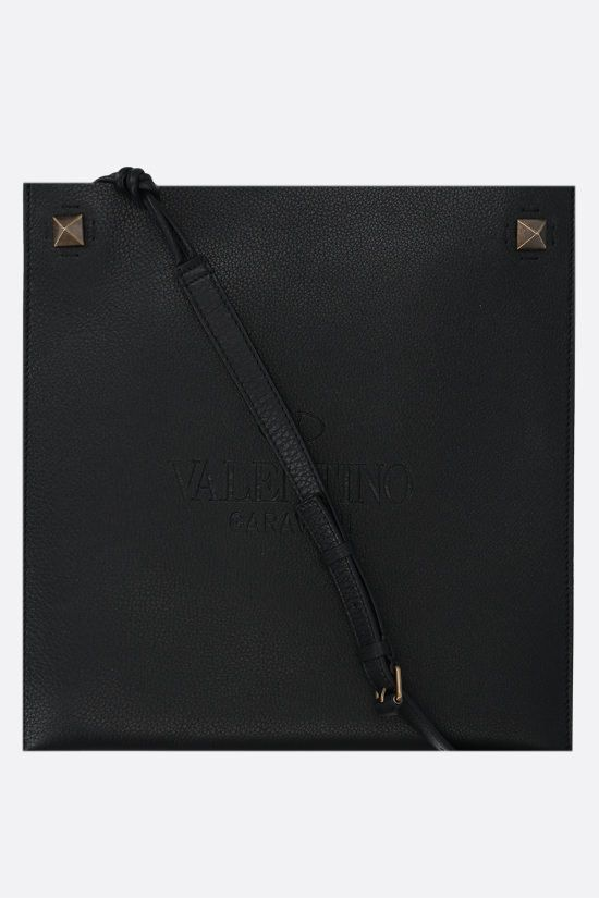 VALENTINO GARAVANI: Valentino Garavani Identity grainy leather crossbody bag Color Black_1