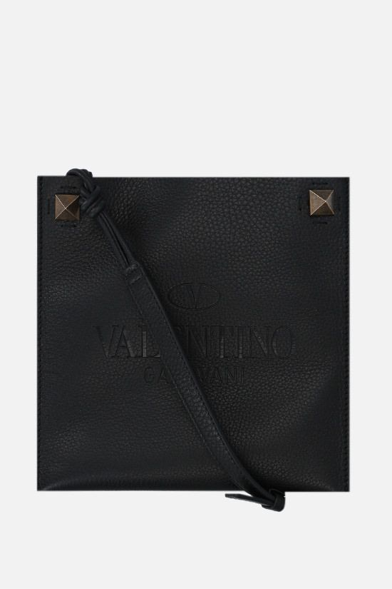 VALENTINO GARAVANI: Valentino Garavani Identity small grainy leather crossbody bag Color Black_1