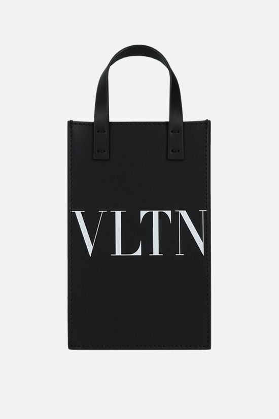 VALENTINO GARAVANI: VLTN mini smooth leather tote bag Color Black_1