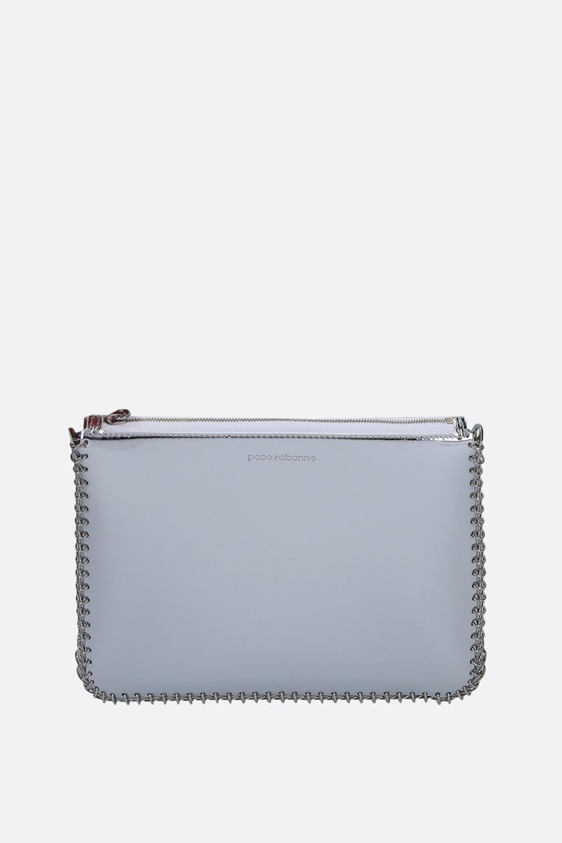 PACO RABANNE: mirror effect faux leather crossbody bag Color Silver_1