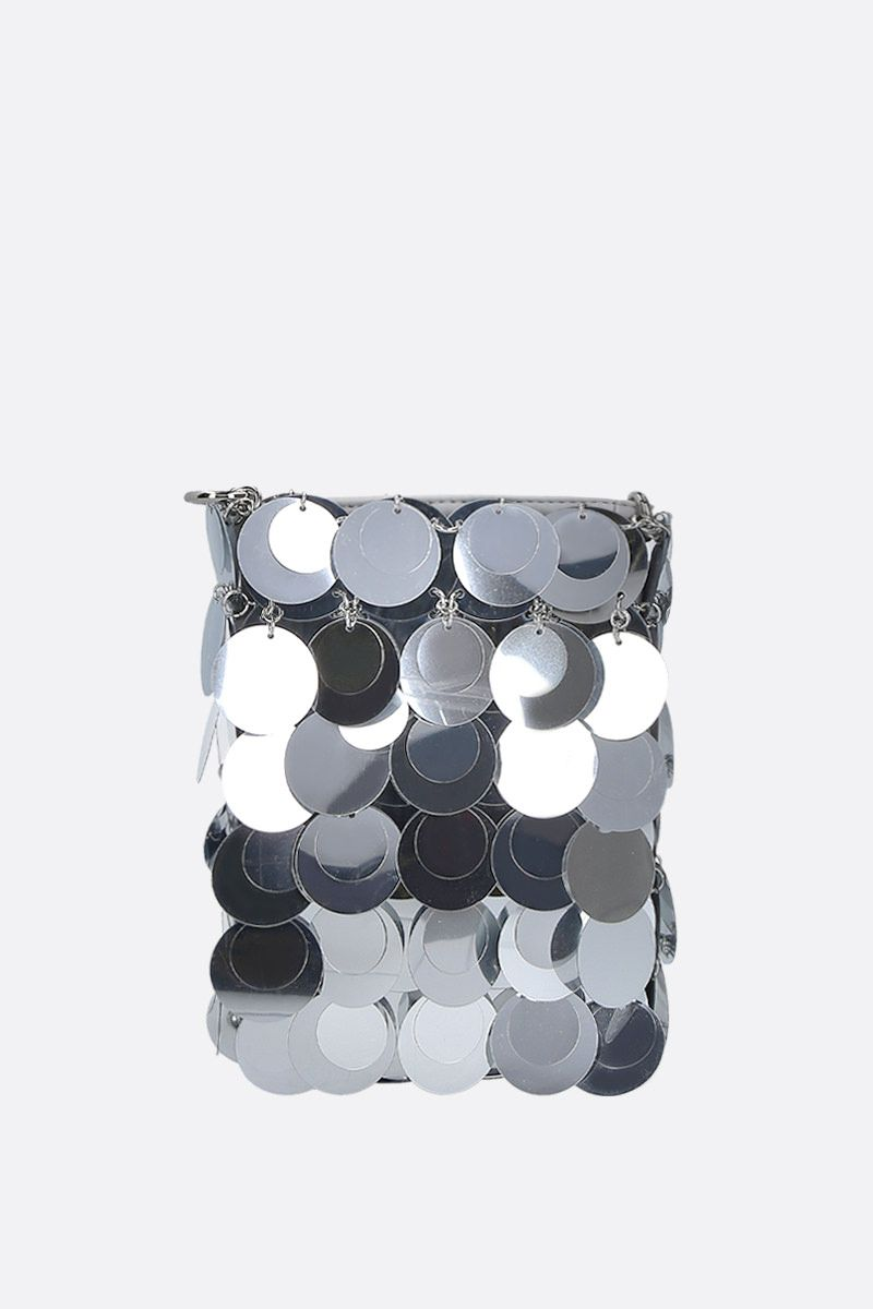PACO RABANNE: 1969 mini sequinned shoulder bag Color Silver_1